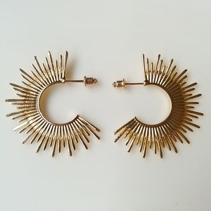 🆕 ☀ Sunburst Spike Gold Large Hoop Earrings